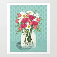 Vase of Daisies floral flowers spring summer mother's day illustration Andrea Lauren  Art Print