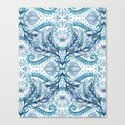 Lily, Leaf & Triangle Pattern – blues Canvas Print