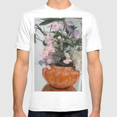 Flowers White SMALL Mens Fitted Tee