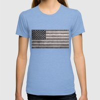 American flag - retro style desaturated look Womens Fitted Tee Tri-Blue SMALL