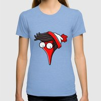 He´s Here! Womens Fitted Tee Tri-Blue SMALL