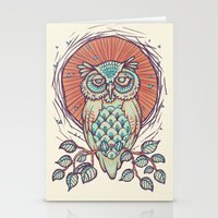 Owl on branch Stationery Cards