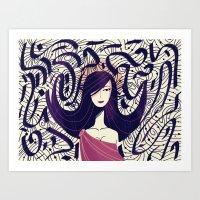:::Dark Hair::: Art Print