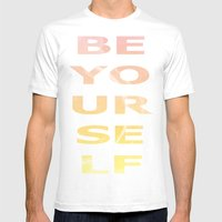 BE YOURSELF Mens Fitted Tee White SMALL