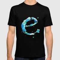 Blue 'E' Mens Fitted Tee Black SMALL