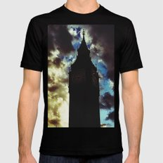 Big Ben up in the clouds SMALL Mens Fitted Tee Black