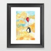 Penguin And A Red Balloo… Framed Art Print