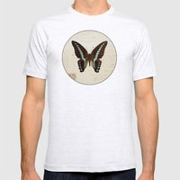Blue Spotted Butterfly Mens Fitted Tee Ash Grey SMALL