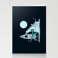 Penguin Space Race Stationery Cards