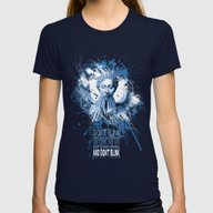 Don't Blink! Womens Fitted Tee Navy SMALL