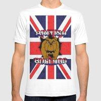 British Bulldog Union Jack Cartoon With Grunge overlay Mens Fitted Tee White SMALL