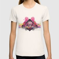 Skull Rainbow Womens Fitted Tee Natural SMALL