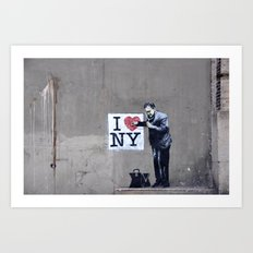 Banksy Doctor checking on I Heart NY Art Print
