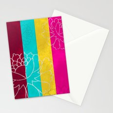 Chinese Flowers & Stripes - Pink Yellow Cyan Red Stationery Cards