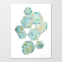 Blue Green Hexagon Arran… Canvas Print