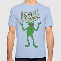 Muppets for Obama Mens Fitted Tee Athletic Blue SMALL