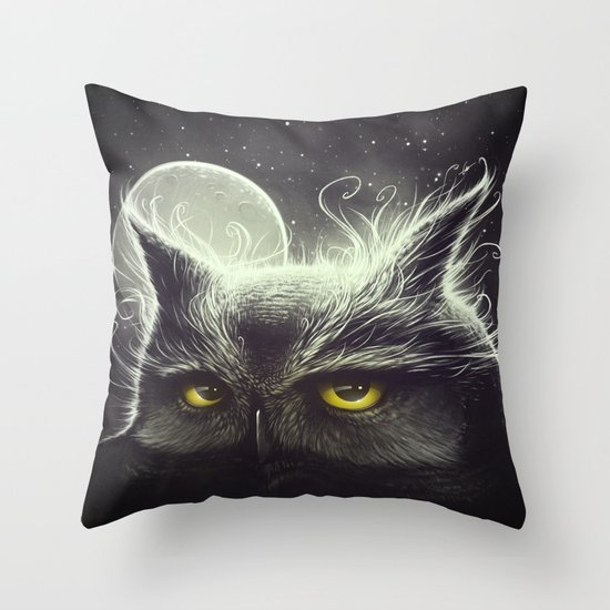 Owl & The Moon Throw Pillow