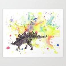 Stegosaurus Dinosaur in Splash of Color Art Print