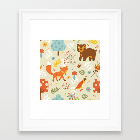 Woodland pattern Framed Art Print