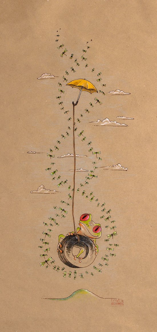Frog on a Tire Swing with Umbrella — Air of Imagination Series Art Print