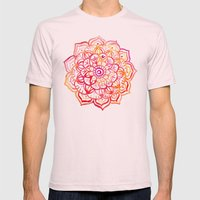 Watercolor Medallion in Sunset Colors Mens Fitted Tee Light Pink SMALL