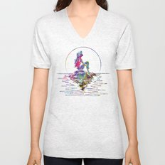 The Little Mermaid Ariel Silhouette Watercolor Unisex V-Neck