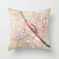 Throw Pillow featuring Vienna by MapMapMaps.Watercolo…