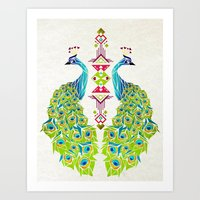 peacock Art Prints featuring peacock by Manoou