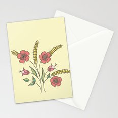 Floral placement on beige Stationery Cards