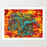 A Mysterious Leafy Seadragon Art Print