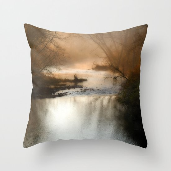 Foggy Alum Creek on a chilly fall morning Throw Pillow
