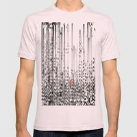 Black and White Noise Mens Fitted Tee Light Pink SMALL