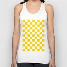 Checker (Gold/White) Unisex Tank Top