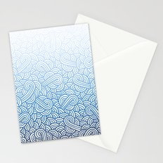 Gradient blue and white swirls doodles Stationery Cards