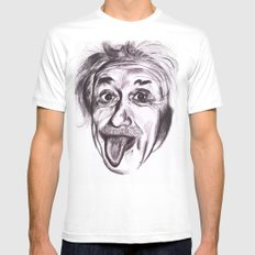 Einstein White Mens Fitted Tee SMALL