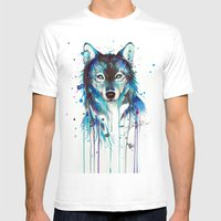 -Dark Wolf- Mens Fitted Tee White SMALL