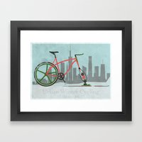 Urban Winter Cycling Framed Art Print