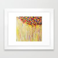 OPPOSITES LOVE Raining Sunshine - Bold Bright Sunny Colorful Rain Storm Abstract Acrylic Painting Framed Art Print