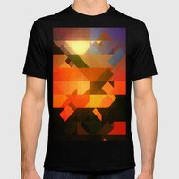 Retro Triangle and Texture Mens Fitted Tee Black SMALL
