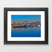 Boats in the Harbor: Barcelona, Spain Framed Art Print