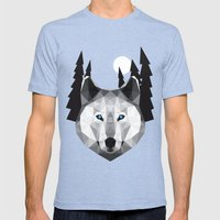 The Tundra Wolf Mens Fitted Tee Tri-Blue SMALL