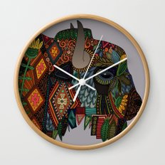bison heather Wall Clock