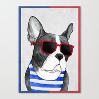 Frenchie Summer Style Canvas Print
