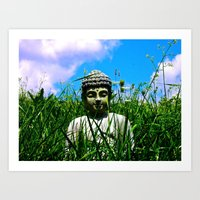 Buddha Looks Through Gra… Art Print