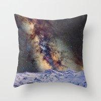 Sagitario, Scorpio and the star Antares over the hight mountains Throw Pillow