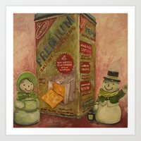 Snowmen And Crackers Art Print