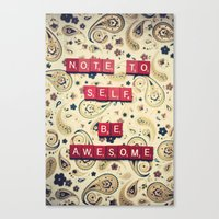 Note To Self Canvas Print