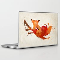watercolor Laptop & iPad Skins featuring Vulpes vulpes by Robert Farkas