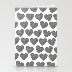 silver heart-129 Stationery Cards