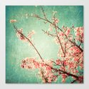 Pink Autumn Leafs on Blue Textured Sky (Vintage Nature Photography) Canvas Print